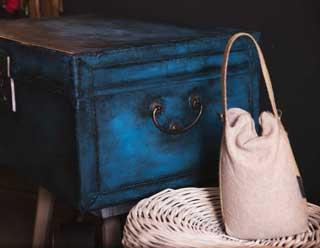 Vintage Kiste Diy blaue Farbe
